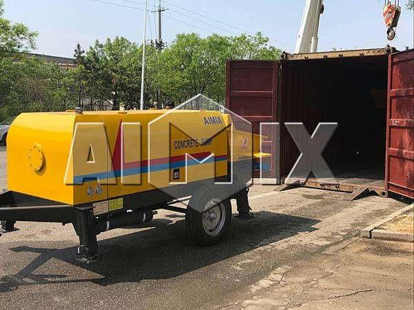 AIMIX прицепной бетононасос транспортировал на Казахстан