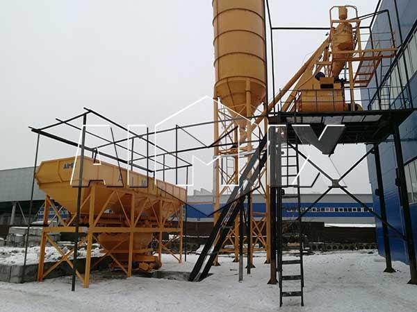 Стационарный бетонный завод 75 м3/ч в Казахстане